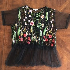 Flower embroidered mesh black blouse top NWOT